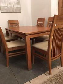 Solid Wood Dining Table plus 6 Chairs