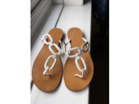 L K Bennett White Leather Thong Sandals