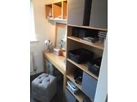 Dressing table with shelving units