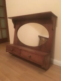 Mirror with solid wood surround, hooks and drawers