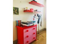Child's chest of drawers and 2 wall shelves