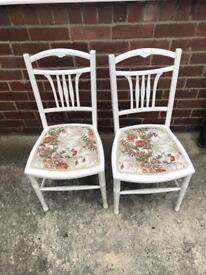 Shabby chic white floral print chair x2