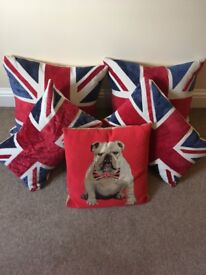 Set of 5 Union Jack Cushions - as new