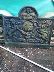 Charles the 2nd cast iron fire back