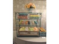Glass display cabinet / counter with rear sliding doors. Retail shop display.Great for bakery goods.
