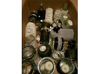 Wedding mirror plates and candle jars