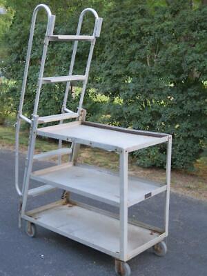 Rol-away Truck Rolling Handrail Ladder Work Cart 5 Stair 3 Shelves Order Picking