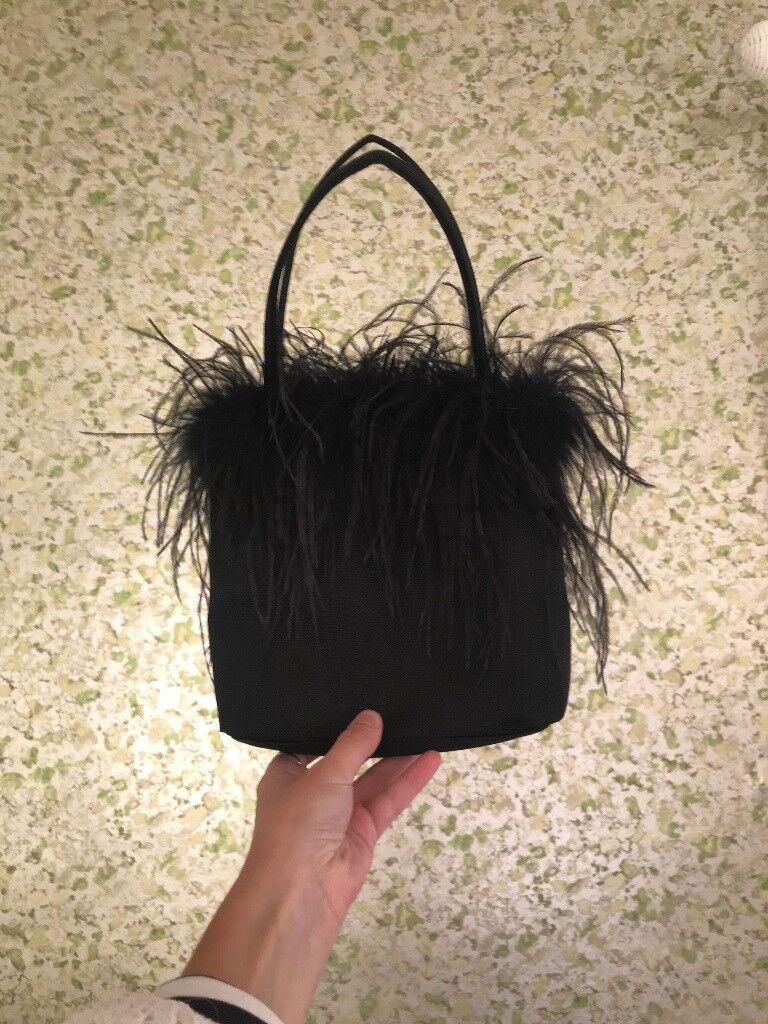 Black Fluffy Hobbs Handbag Clutch Bag
