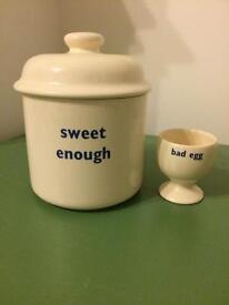 Big Tomato Company egg cup and sugar caddy
