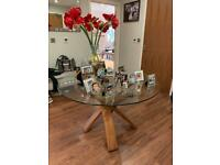 M&S Jasper oak and glass dining table