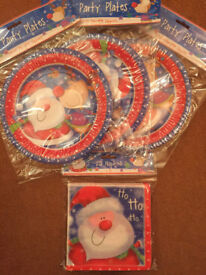 Kids' Christmas Dinner/Party Paper Plates and Matching Napkins (Set 2)