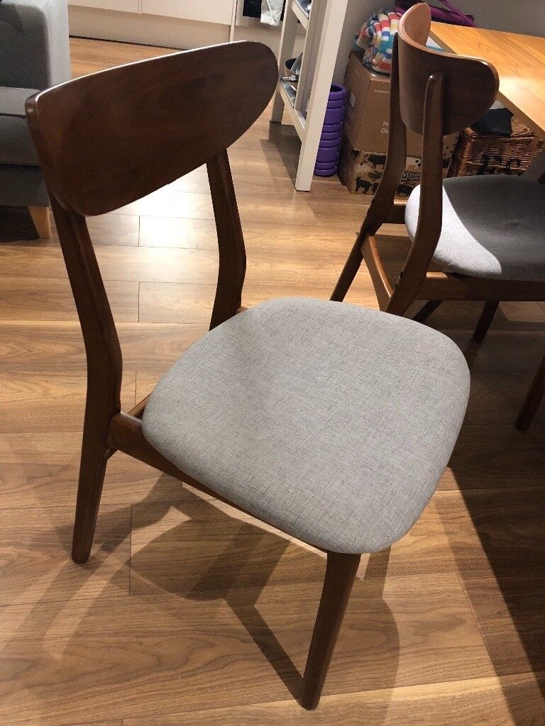 West Elm Classic Cafe Upholstered Dining Chairs x4 (Walnut ...