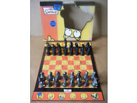 (The Simpsons, Antiqued metal effect, Chess board game. Contents in excellent condition. 2005.