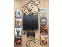 Playstation 3 250GB, one controller, HDMI cable, 8 games including Call of Duty and Battlefield