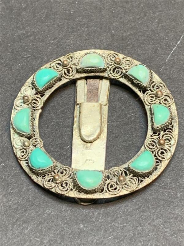 Vintage Art Deco China Silver and Genuine Turquoise Dress Clip