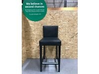 HENRIKSDAL Bar stool with backrest, brown-black/Glose black 74 cm IKEA Croydon #BargainCorner