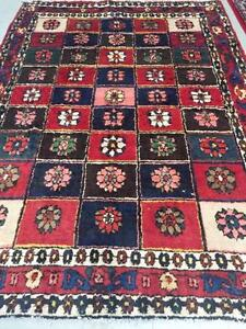 Handmade Persian Rug, Red and blue rug, Wool Rug (Free Shipping)
