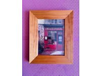 Lovely wooden picture frame with French Bistro picture