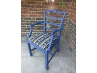 Rustic vintage boho carver chair. Dining, office, hallway. Dark blue distressed/shabby chic.