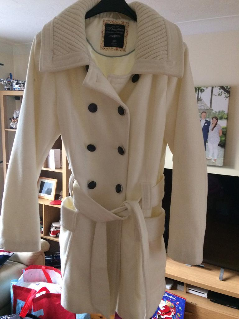 Cream winter coat size 16 worn once excellent condition