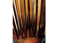 """***** 40+ Years """"CUE"""" collection of Snooker, Pool, & American Cues and Extensions/Cases *****"""