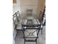 Black Gold Dining Table & 6 chairs