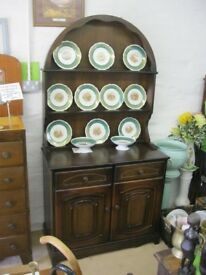 ORNATE OAK 'DUTCH' DRESSER. ARCHED DETACHABLE TOP. VIEWING / DELIVERY AVAILABLE