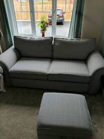3 seater DFS Woodlea fabric sofa and footstool