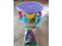 Ecoiffier lego table with lego blocks