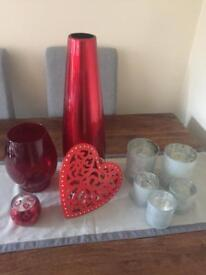 Candle holder and vase bundle - red and silver only £8