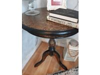 Metallic leopard print side table (upcycled)