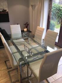 """Harvey's """"Jarrow"""" Glass and Chrome Extendable table"""