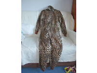 Ladies animal print onesie and slippers