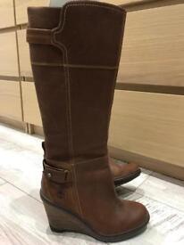 Timberland tan brown ladies boots knee high size 5 uk