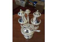 Pair of Ianthye traditional new silver plate 4pc condiment sets