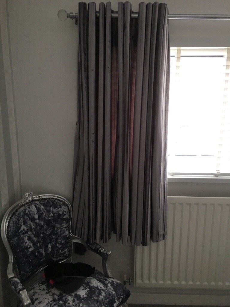 Silver Grey Kylie Minogue Crushed Velvet Curtains And Tie Backs Inc Hooks Pole In South Shields Tyne Wear Gumtree