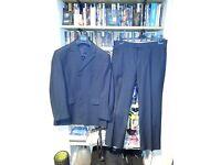 Men's navy blue pinstripe suit
