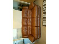 3 and 2 seater electric reclining genuine leather settee with pouffe