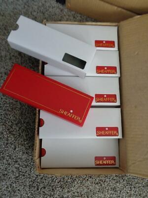 NEW OLD STOCK~CASE OF 10 SHEAFFER RED WHITE DOT HARD PLASTIC PEN BOXES w SLEEVE  White Plastic Pen