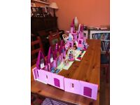 Pink Lego duplo castle with princes and princesses