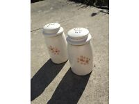 Denby Gypsy salt and pepper cruet set. Hand painted 1970's. Very collectible.