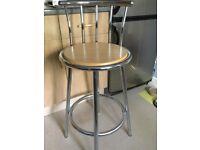 Kitchen stool , beech seat , chrome legs