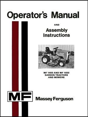 Massey Ferguson Mf 1450 And Mf 1650 Garden Tractor Owners Manual Maintenance