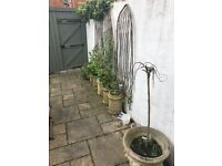 6 Victorian Chimney pots, 2 large stone pots and Belfast sink for the garden and yard