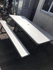 Lifetime large garden table with benches foldable
