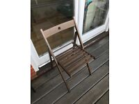 4 brown garden chairs