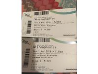 STEREOPHONICS TICKETS X 2 GENTING ARENA BIRMINGHAM 1st MARCH