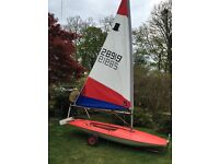 Topper sailing dinghy, great condition, 2 excellent sails, with launching trolley.