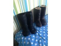 2 pairs of Ladies full length Ugg boots .. 1 brown 1 black .... size 4 .. £150 for both