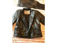 Leather biker zip together jacket and trousers
